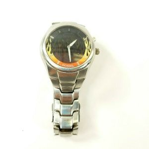 Fossil Fire Flames Dial Mens Watch 50 Meters Stain